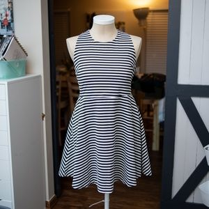 Hott! Black & White Striped Skater Dress